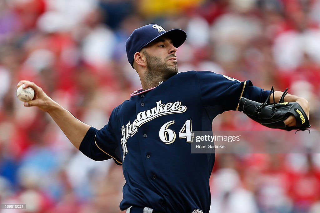 Starting pitcher Mike Fiers #64 of the Milwaukee Brewers throws a pitch during the game against the Philadelphia Phillies at Citizens Bank Park on June 2, 2013 in Philadelphia, Pennsylvania.