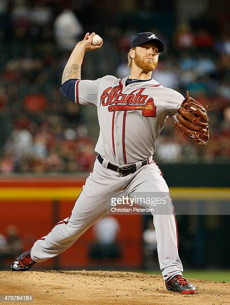 Starting pitcher Mike Foltynewicz of the Atlanta Braves pitches against the Arizona Diamondbacks during the first inning of the MLB game at Chase...