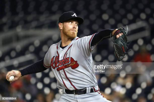 Starting pitcher Mike Foltynewicz of the Atlanta Braves throws to a Washington Nationals batter in the first inning at Nationals Park on July 6 2017...