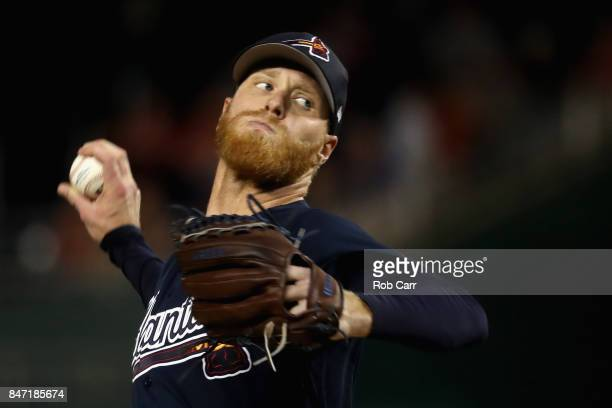 Starting pitcher Mike Foltynewicz of the Atlanta Braves throws to a Washington Nationals batter at Nationals Park on September 14 2017 in Washington...
