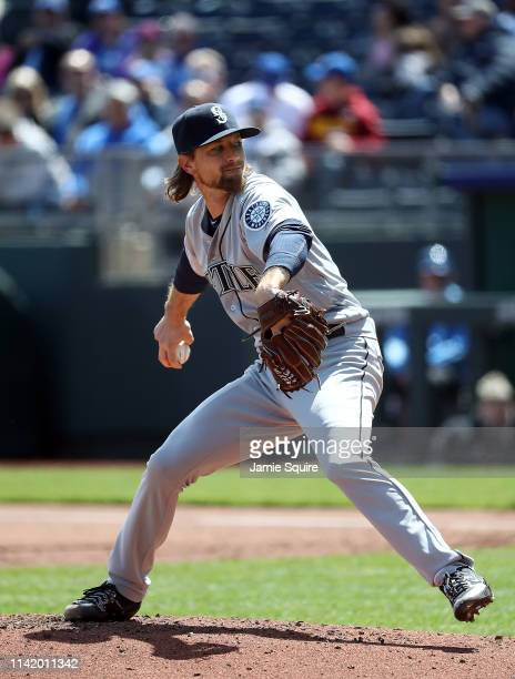 Starting pitcher Mike Leake of the Seattle Mariners pitches during the game against the Kansas City Royals at Kauffman Stadium on April 11 2019 in...