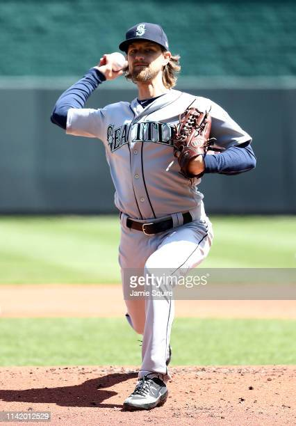 Starting pitcher Mike Leake of the Seattle Mariners warms up prior to the game against the Kansas City Royals at Kauffman Stadium on April 11 2019 in...