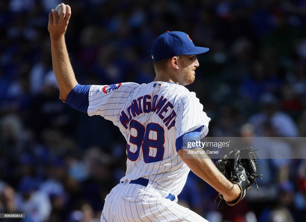 Starting pitcher Mike Montgomery #38 of the Chicago Cubs delivers the ball against the Cincinnati Reds at Wrigley Field on October 1, 2017 in Chicago, Illinois.