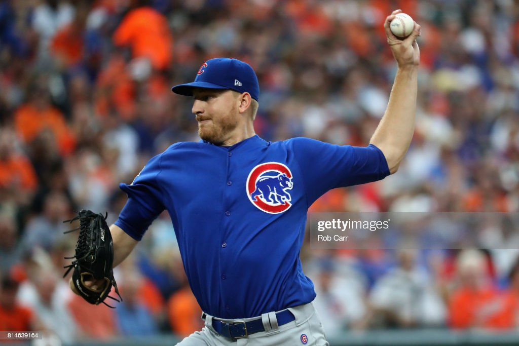 Starting pitcher Mike Montgomery #38 of the Chicago Cubs throws to a Baltimore Orioles batter in the first inning at Oriole Park at Camden Yards on July 14, 2017 in Baltimore, Maryland.