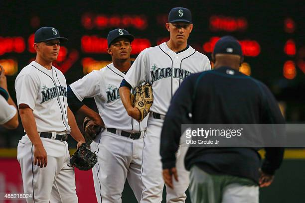 Starting pitcher Mike Montgomery of the Seattle Mariners is removed from the game by manager Lloyd McClendon in the second inning against the Oakland...