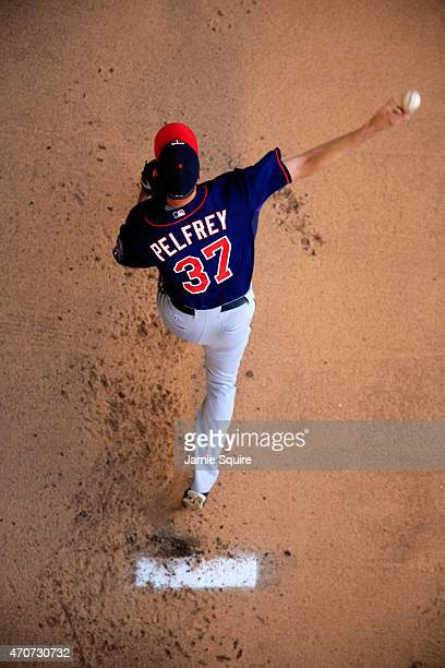 Starting pitcher Mike Pelfrey of the Minnesota Twins warms up in the bullpen prior to the start of the game against the Kansas City Royals at...