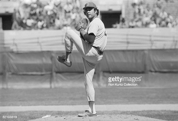 Starting pitcher Mike Torrez for the Boston Red Sox delivers a pitch during a game circa 1980s against the Cleveland Indians at Municipal Stadium in...