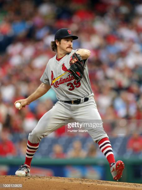 Starting pitcher Miles Mikolas of the St Louis Cardinals delivers a pitch during a game against the Philadelphia Phillies at Citizens Bank Park on...