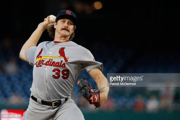 Starting pitcher Miles Mikolas of the St Louis Cardinals pitches in the first inning against the Washington Nationals at Nationals Park on September...