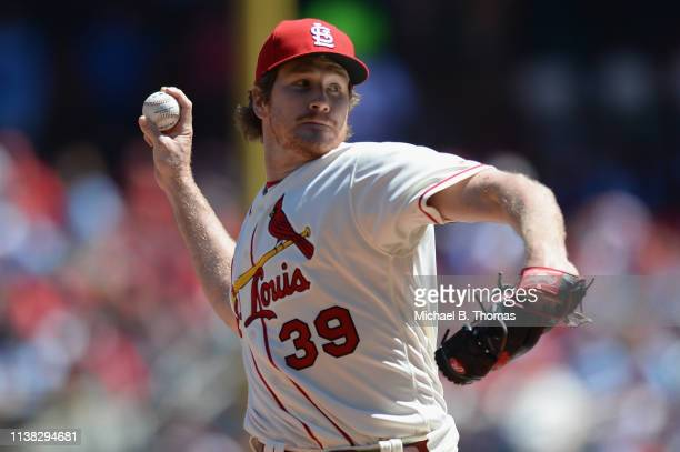 Starting pitcher Miles Mikolas of the St Louis Cardinals pitches in the first inning against the New York Mets at Busch Stadium on April 20 2019 in...
