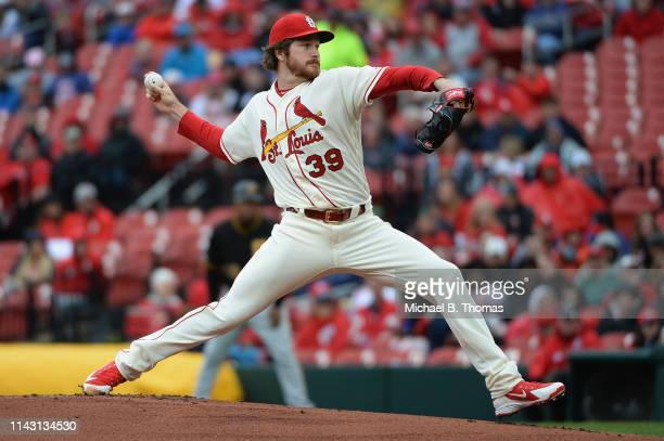 Starting pitcher Miles Mikolas of the St Louis Cardinals pitches in the first inning against the Pittsburgh Pirates at Busch Stadium on May 11 2019...