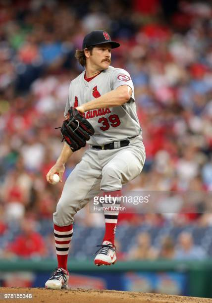 Starting pitcher Miles Mikolas of the St Louis Cardinals throws a pitch in the second inning during a game against the Philadelphia Phillies at...