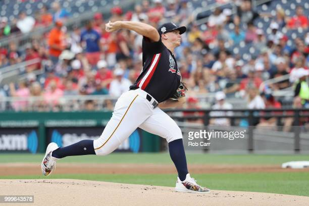 Starting pitcher Mitch Keller of the Pittsburgh Pirates and the US Team works the first inning against the World Team during the SiriusXM AllStar...