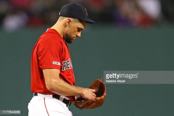 Starting pitcher Nathan Eovaldi of the Boston Red Sox looks on during the first inning against the Baltimore Orioles at Fenway Park on September 27...