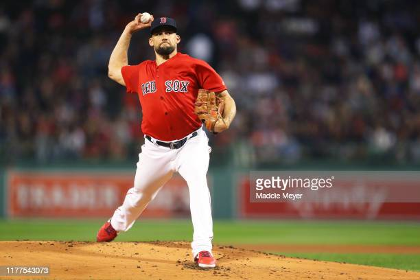 Starting pitcher Nathan Eovaldi of the Boston Red Sox throws against the Baltimore Orioles during the first inning at Fenway Park on September 27...