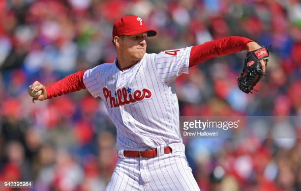 Starting pitcher Nicholas Pivetta of the Philadelphia Phillies delivers the first pitch of the game against the Miami Marlins at Citizens Bank Park...