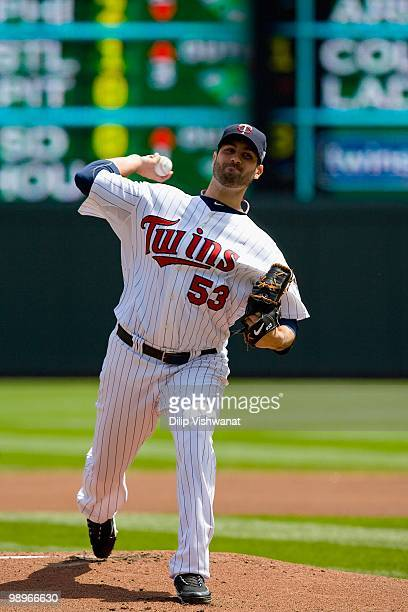 Starting pitcher Nick Blackburn of the Minnesota Twins throws against the Baltimore Orioles at Target Field on May 9, 2010 in Minneapolis, Minnesota....