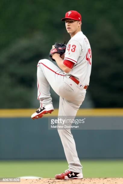 Starting pitcher Nick Pivetta of the Phiadelphia Phillies throws in the first inning against the ColoradoRockies at Coors Field on August 5 2017 in...