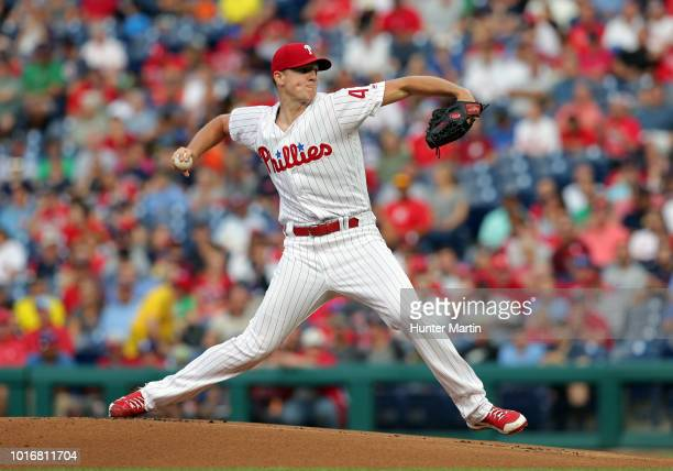 Starting pitcher Nick Pivetta of the Philadelphia Phillies delivers a pitch in the first inning during a game against the Boston Red Sox at Citizens...