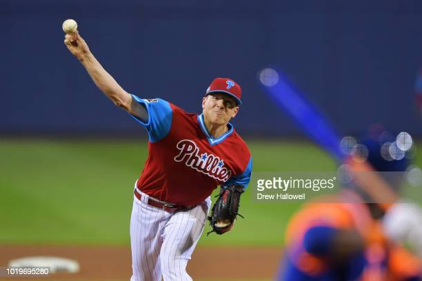 Starting pitcher Nick Pivetta of the Philadelphia Phillies delivers a pitch in the fourth inning against the New York Mets during the inaugural MLB...