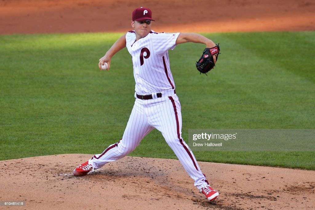 Starting pitcher Nick Pivetta #43 of the Philadelphia Phillies delivers a pitch in the third inning against the San Diego Padres at Citizens Bank Park on July 7, 2017 in Philadelphia, Pennsylvania.