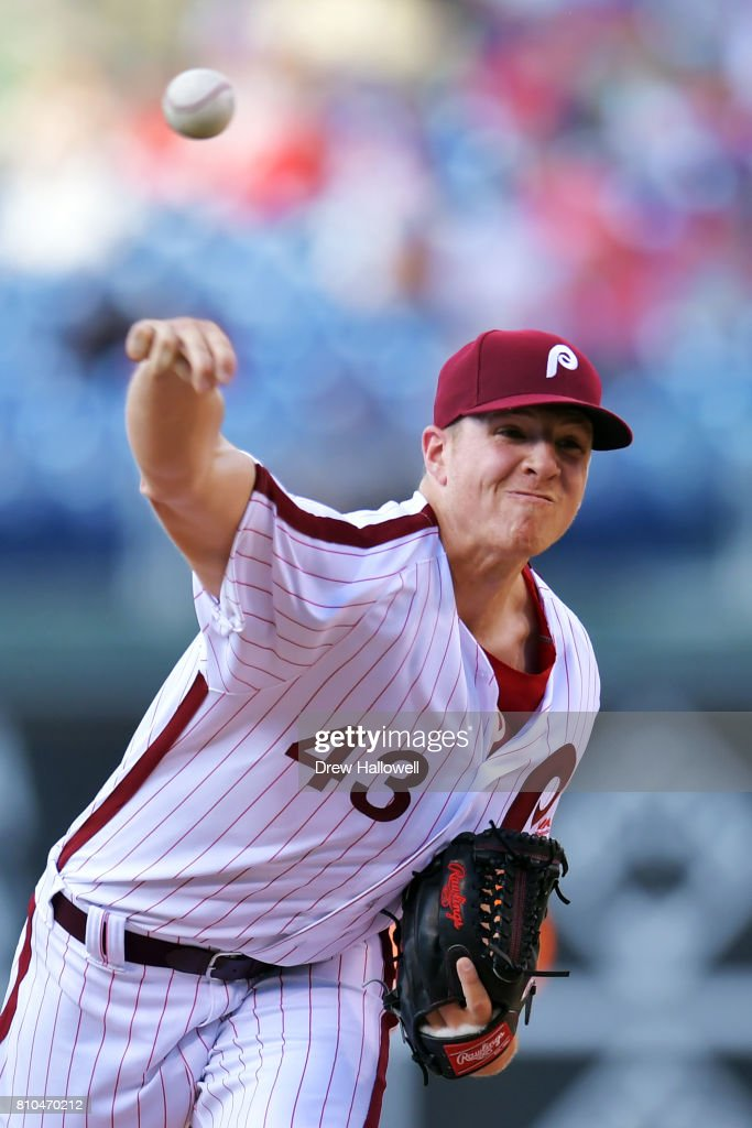Starting pitcher Nick Pivetta #43 of the Philadelphia Phillies delivers a pitch in the second inning against the San Diego Padres at Citizens Bank Park on July 7, 2017 in Philadelphia, Pennsylvania.