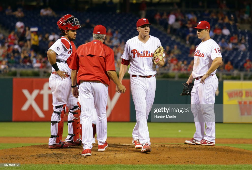 Starting pitcher Nick Pivetta #43 of the Philadelphia Phillies is taken out of the game in the second inning during game two of a doubleheader against the Miami Marlins at Citizens Bank Park on August 22, 2017 in Philadelphia, Pennsylvania.