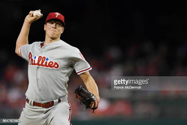 Starting pitcher Nick Pivetta of the Philadelphia Phillies pitches in the second inning against the Washington Nationals at Nationals Park on May 4...
