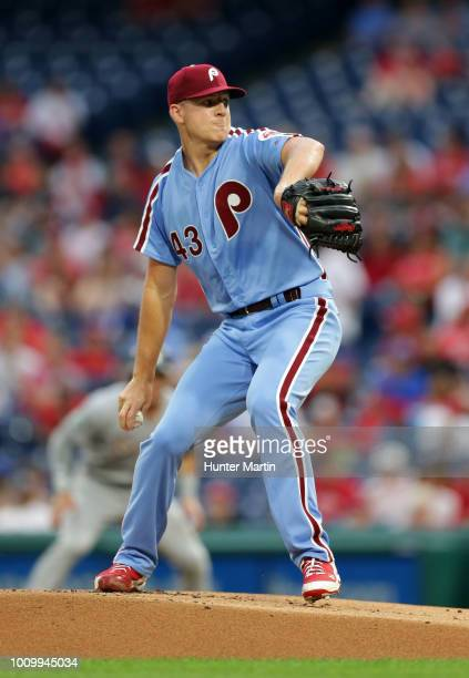 Starting pitcher Nick Pivetta of the Philadelphia Phillies throws a pitch in the first inning during a game against the Miami Marlins at Citizens...
