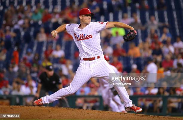 Starting pitcher Nick Pivetta of the Philadelphia Phillies throws a pitch in the first inning during game two of a doubleheader against the Miami...