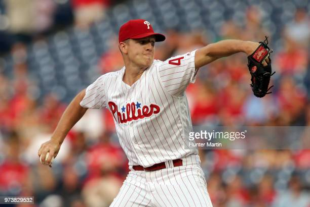 Starting pitcher Nick Pivetta of the Philadelphia Phillies throws a pitch in the second inning during a game against the Colorado Rockies at Citizens...