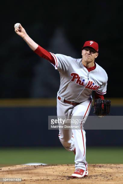 Starting pitcher Nick Pivetta of the Philadelphia Phillies throws in the first inning against the Colorado Rockies at Coors Field on September 26...