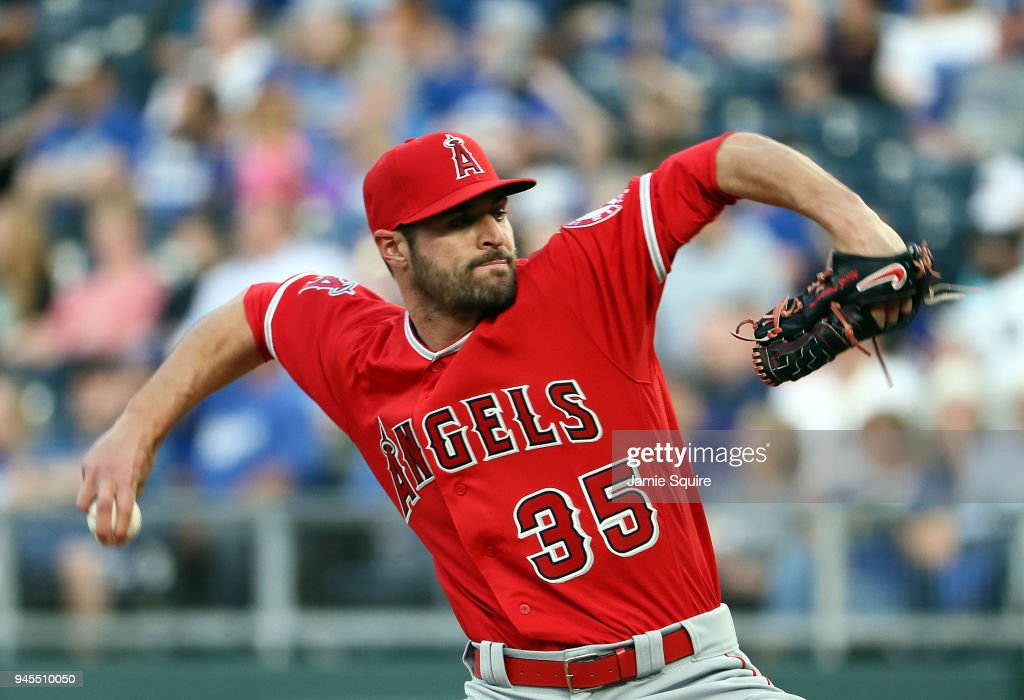 Starting pitcher Nick Tropeano #35 of the Los Angeles Angels pitches during the 1st inning of the game against the Kansas City Royals at Kauffman Stadium on April 12, 2018 in Kansas City, Missouri.