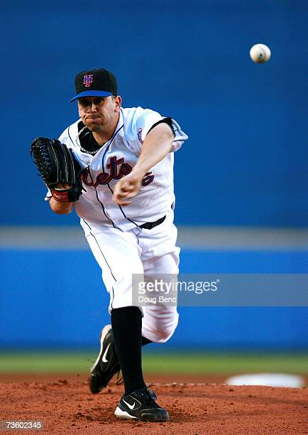 Starting pitcher Oliver Perez of the New York Mets pitches against the Boston Red Sox in a spring training game on March 15 2007 at Tradition Field...