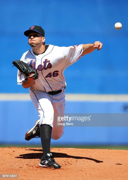 Starting pitcher Oliver Perez of the New York Mets pitches against the Washington Nationals at Tradition Field on March 7 2010 in Port St Lucie...