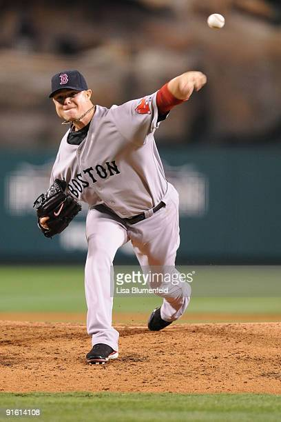 Starting pitcher on Lester if the Boston Red Sox delivers a pitch against the Los Angeles Angels of Anaheim during the first inning of Game One of...