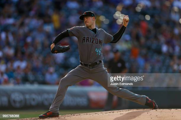 Starting pitcher Patrick Corbin of the Arizona Diamondbacks delivers to home plate during the first inning against the Colorado Rockies at Coors...