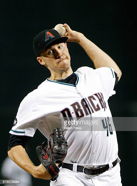 Starting pitcher Patrick Corbin of the Arizona Diamondbacks pitches against the Los Angeles Dodgers during the first inning of a MLB game at Chase...
