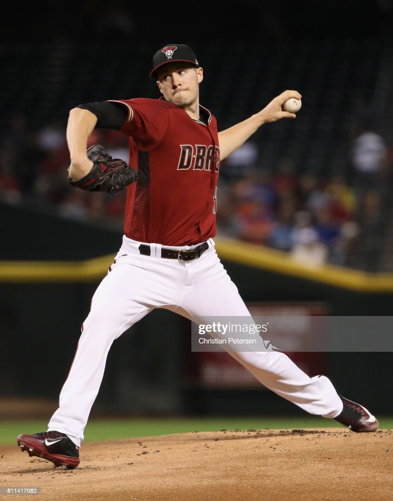 Starting pitcher Patrick Corbin #46 of the Arizona Diamondbacks pitches against the Cincinnati Reds during the first inning of the MLB game at Chase Field on July 9, 2017 in Phoenix, Arizona.