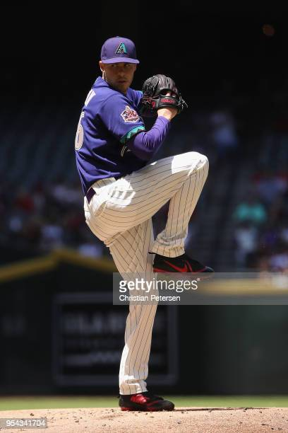 Starting pitcher Patrick Corbin of the Arizona Diamondbacks pitches against the Los Angeles Dodgers during the first inning of the MLB game at Chase...