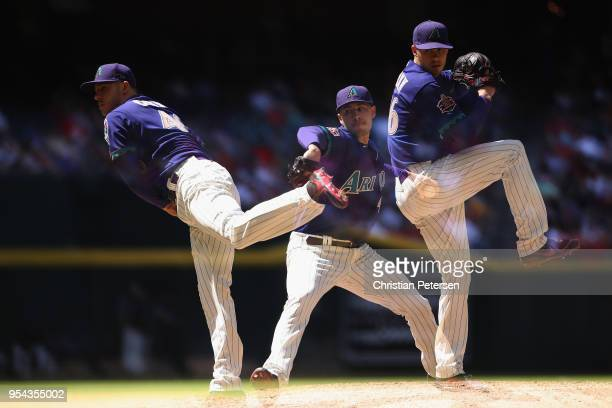 Starting pitcher Patrick Corbin of the Arizona Diamondbacks pitches against the Los Angeles Dodgers during the fifth inning of the MLB game at Chase...