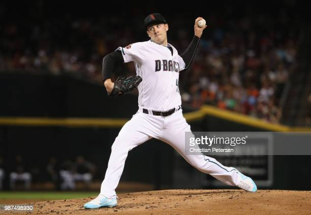 Starting pitcher Patrick Corbin of the Arizona Diamondbacks pitches against the San Francisco Giants during the second inning of the MLB game at...