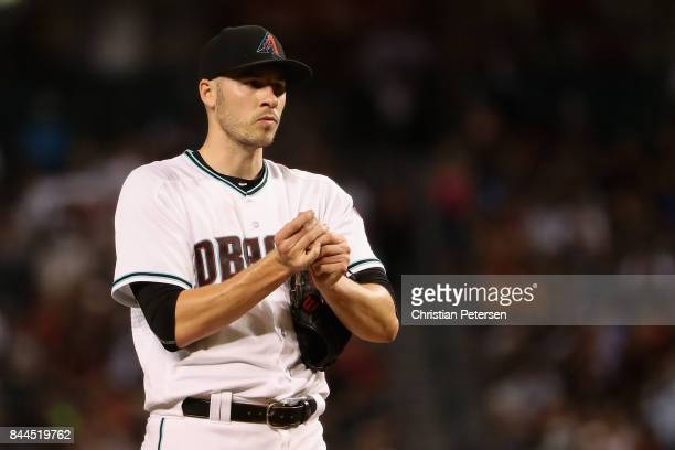 Starting pitcher Patrick Corbin of the Arizona Diamondbacks reacts on the mound during the fourth inning of the MLB game against the San Diego Padres...