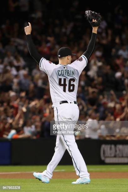 Starting pitcher Patrick Corbin of the Arizona Diamondbacks reacts after AJ Pollock made a diving catch for an out against the San Francisco Giants...