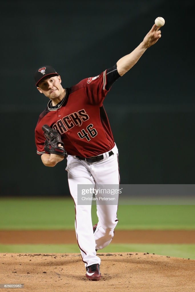 Starting pitcher Patrick Corbin #46 of the Arizona Diamondbacks throws a warm-up pitch during the MLB game against the Cincinnati Reds at Chase Field on July 9, 2017 in Phoenix, Arizona. The Reds defeated the Diamondbacks 2-1.
