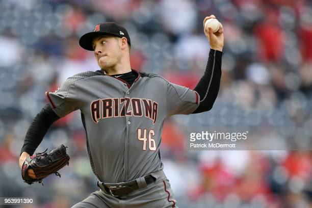 Starting pitcher Patrick Corbin of the Arizona Diamondbacks throws a pitch in the second inning against the Washington Nationals at Nationals Park on...