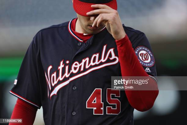 Starting pitcher Patrick Corbin of the Washington Nationals looks on before the first inning against the Miami Marlins at Nationals Park on July 02...