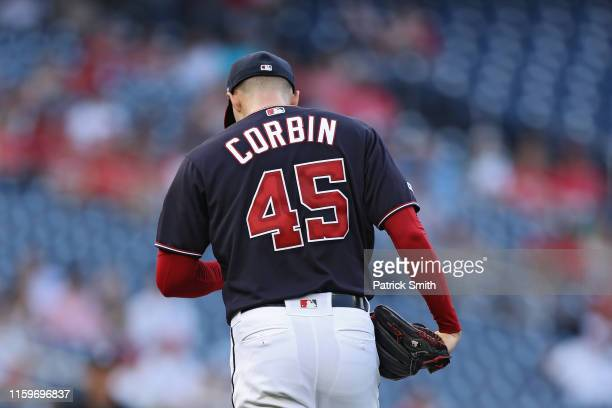 Starting pitcher Patrick Corbin of the Washington Nationals looks on in the first inning against the Miami Marlins at Nationals Park on July 02 2019...