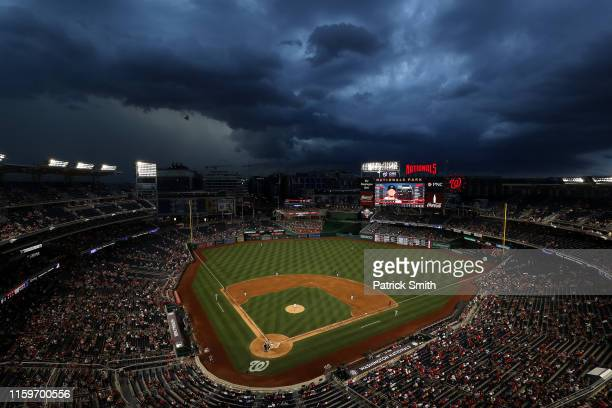 Starting pitcher Patrick Corbin of the Washington Nationals pitches to Miguel Rojas of the Miami Marlins bats during the third inning at Nationals...