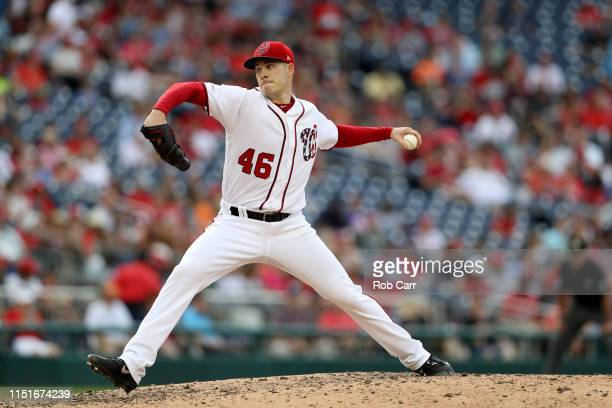 Starting pitcher Patrick Corbin of the Washington Nationals throws to a Miami Marlins batter in the ninth inning at Nationals Park on May 25 2019 in...